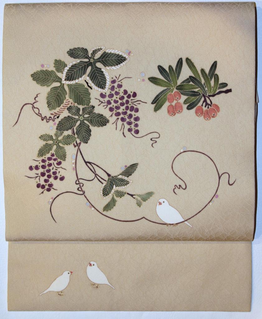 かわむらオリジナル 手描き名古屋帯 四季果実紋 ベージュ系