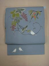 かわむらオリジナル 手描名古屋帯 四季果実紋 グレー系 文鳥