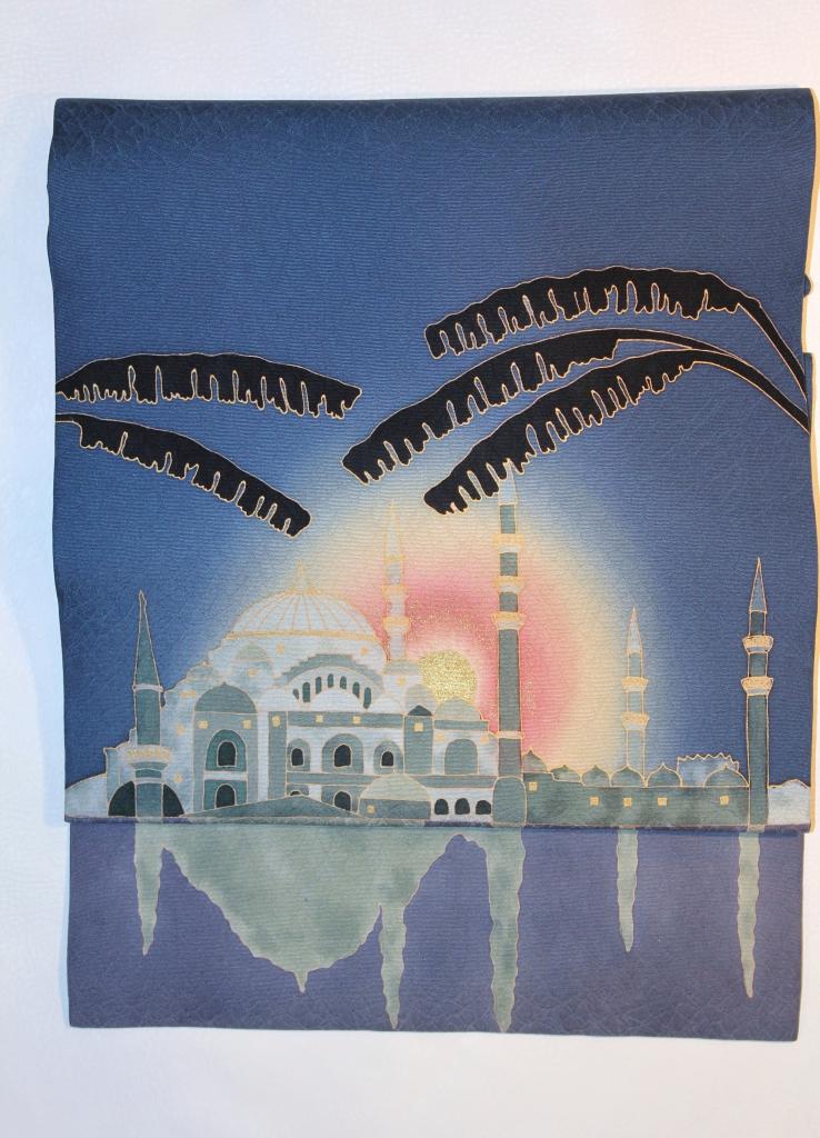 かわむらオリジナル 手描き名古屋帯 世界遺産 トルコブルーモスク