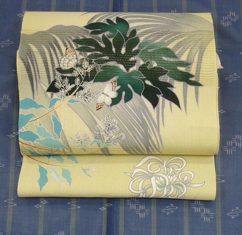 かわむらオリジナル 手描き絽名古屋帯 夏帯 単衣帯 トロピカル 立川 着物