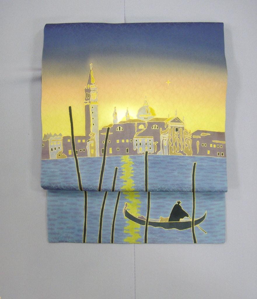 かわむらオリジナル 手描き名古屋帯 世界遺産 ベネチア 夕日