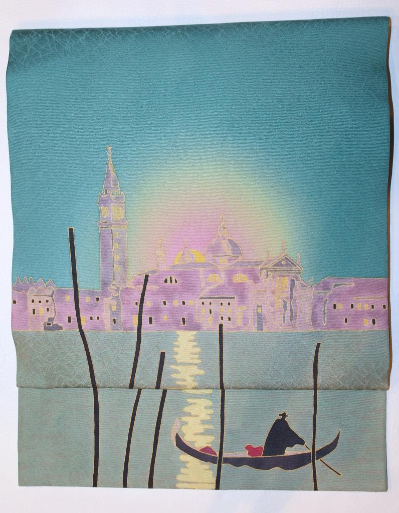 名古屋帯 世界遺産 ベニスの朝日 かわむらオリジナル 手描き名古屋帯