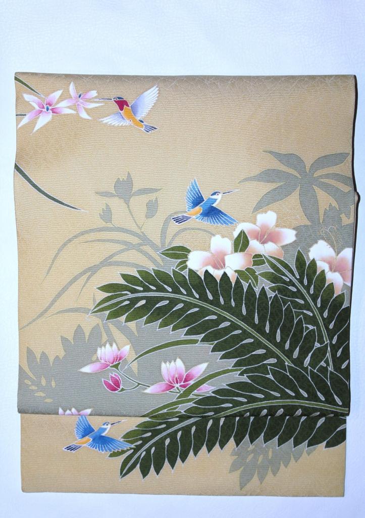 欄とハミングバード かわむらオリジナル 手描き名古屋帯 トロピカル