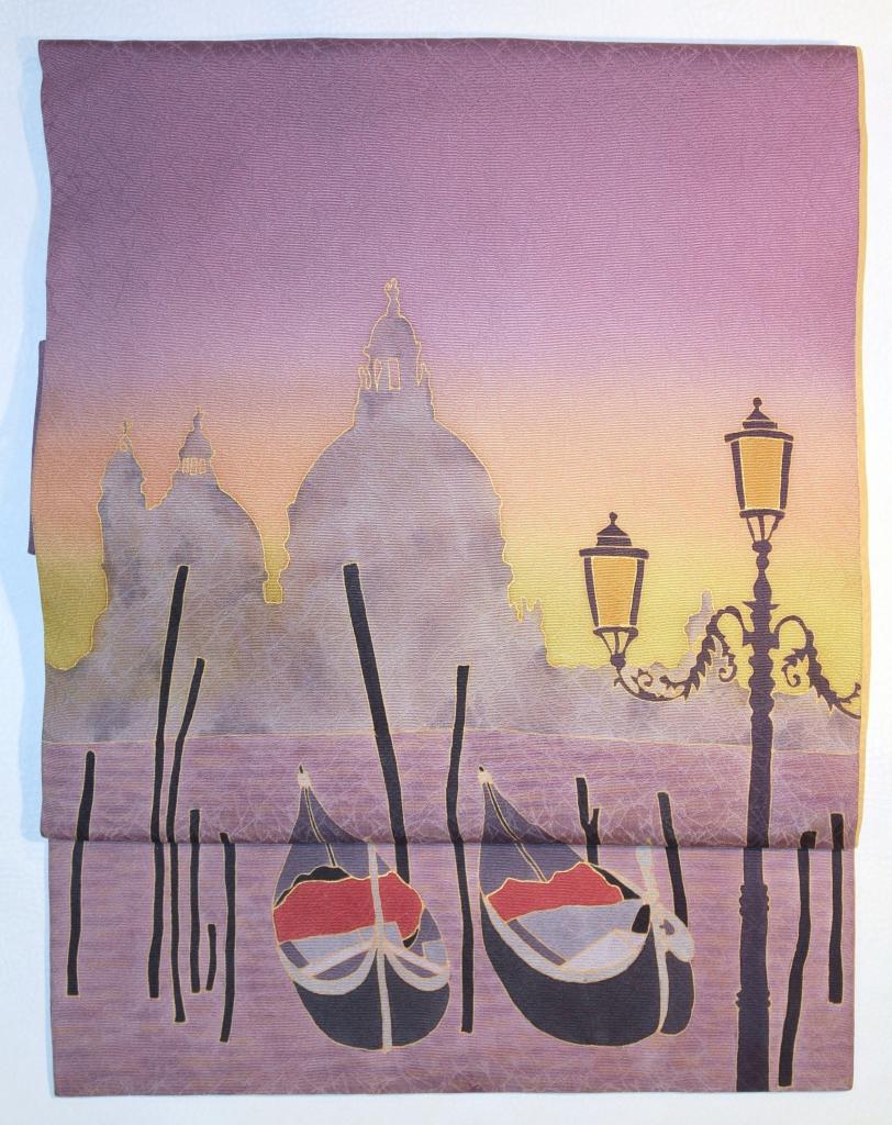 かわむらオリジナル 手描き名古屋帯 ベネチア ゴンドラ 世界遺産 立川かわむら