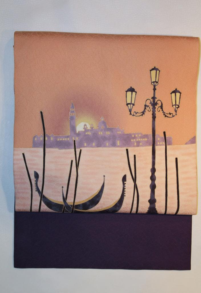 ベネチアンレース 世界遺産 かわむらオリジナル 手描き名古屋帯 ベネチア レース リアルト橋