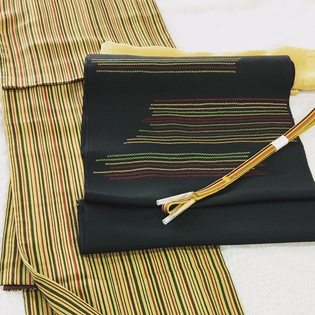 刺繍名古屋帯 クロスステッチ 縞の小紋 クリスマスカラー パーティー